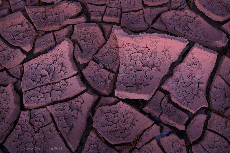 Dried and cracked mud in a wash in Death Valley.
