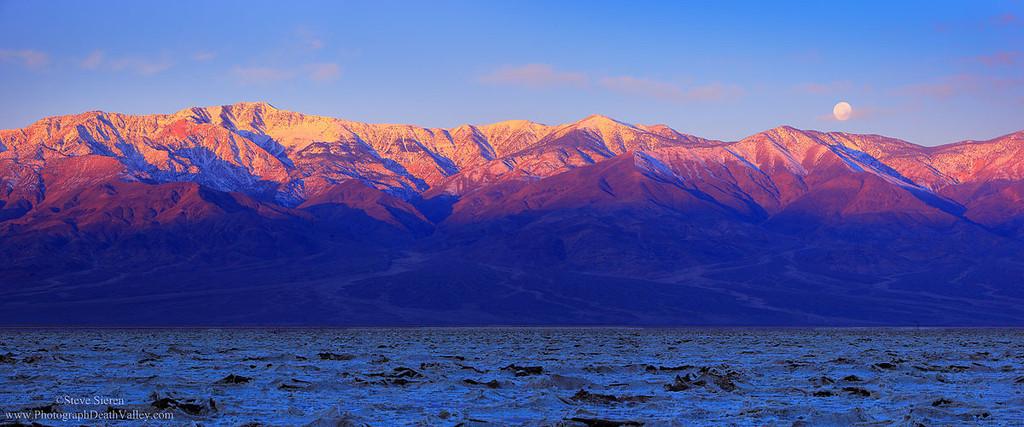 Death Valley Salt Pan Telescope Peak Moonset Panorama