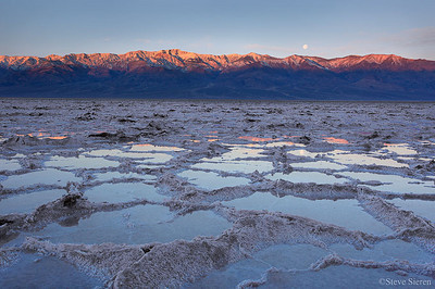 Badwater Submerged Death Valley National Park  Every so many years the Badwater Basin fills from unusual amounts of rain.  It is a rare occurance and evaporates quickly.