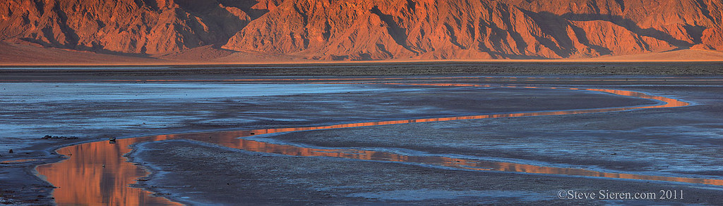 Salt flat reflection of the panamints in Death Valley