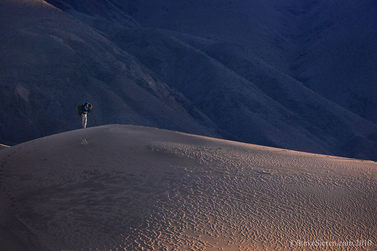 Photographer in the Panamint Dunes - Death Valley
