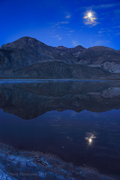 Reflect of a moon star in Saline Valley, Death Valley National Park.