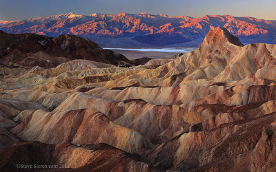 A view of Telescope Peak and Manly Beacon from Zabriskie Point in Death Valley.