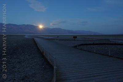 Moonset, Badwater basin, 5:45 AM