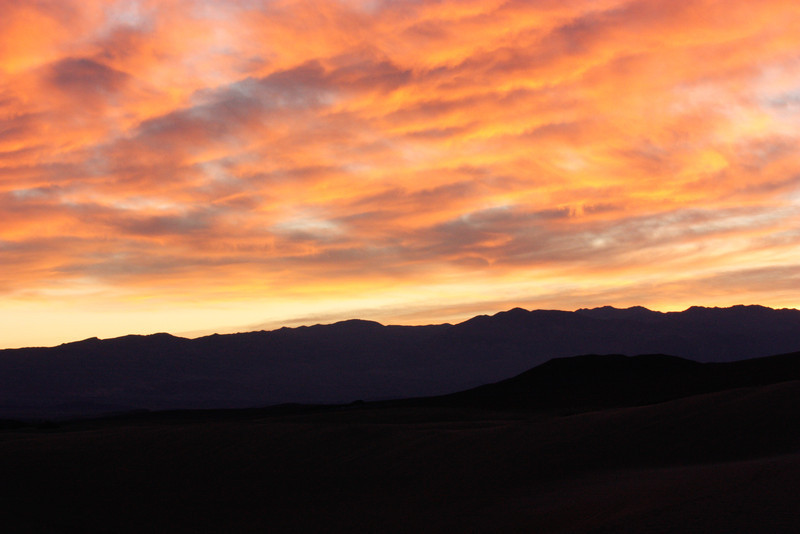 Sunset over Mesquite Dunes, Death Valley