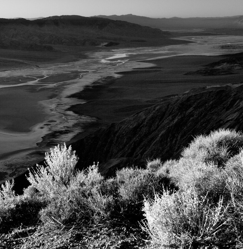 From Dante's View looking down on Badwater in B/W