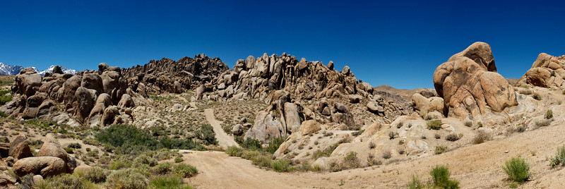 The endless boulder fields of the Alabama Hills above Lone Pine, California.