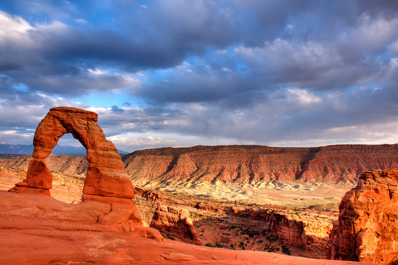 Delicate Arch, Arches National Park, UT.  We hiked up here for the sunset and finally caught some sun.