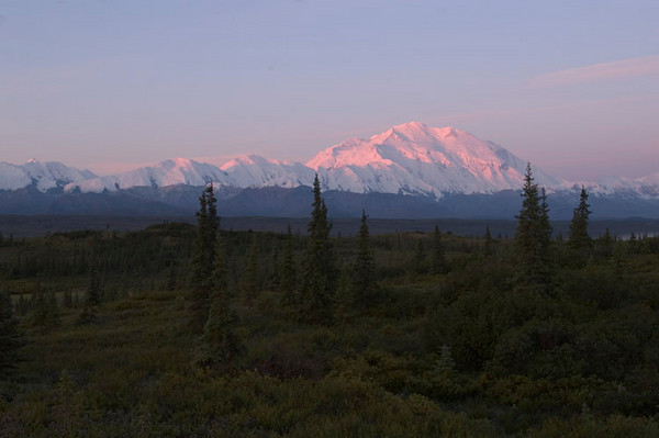 This photograph of Denali helps put things in perspective. You can easily see the relative size of the mountain compared to others around it. This photo was taken at sunrise from the Wonder Lake Campground.