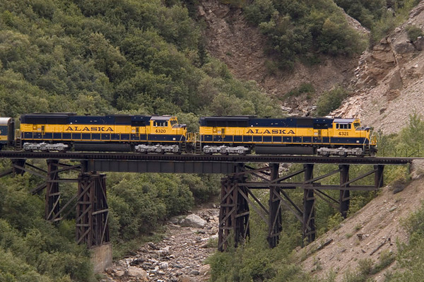 The Alaska Railroad represents a major transportation mode for both tourists and commercial purposes alike. This train is headed north towards Fairbanks and was photographed just to the north of the park entrance.