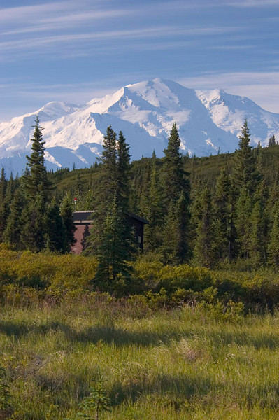Denali rises over the hills near Wonder Lake in the early morning sunlight.