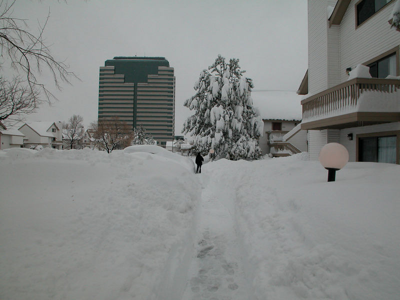 Hotel parking lot. Big building is DPS' original home