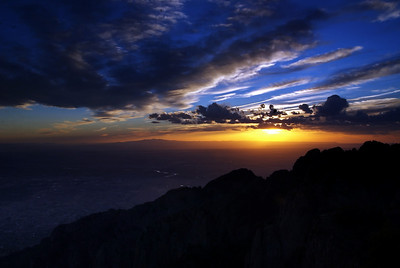 Sunset from Sandia Peak, New Mexico above Alburqurque