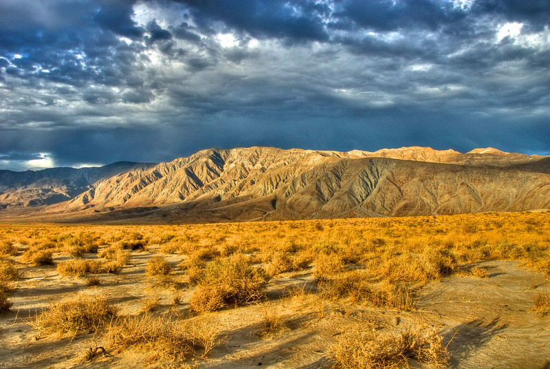 Storm clouds over the Anzio Borrego desert in California.