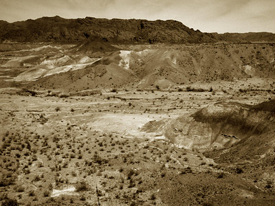 """Big Bend Badlands desert landscape"" in black and white.  The Badlands of Big Bend National Park can be found shortly after entering the park from Terlingua on the west side of the Park."