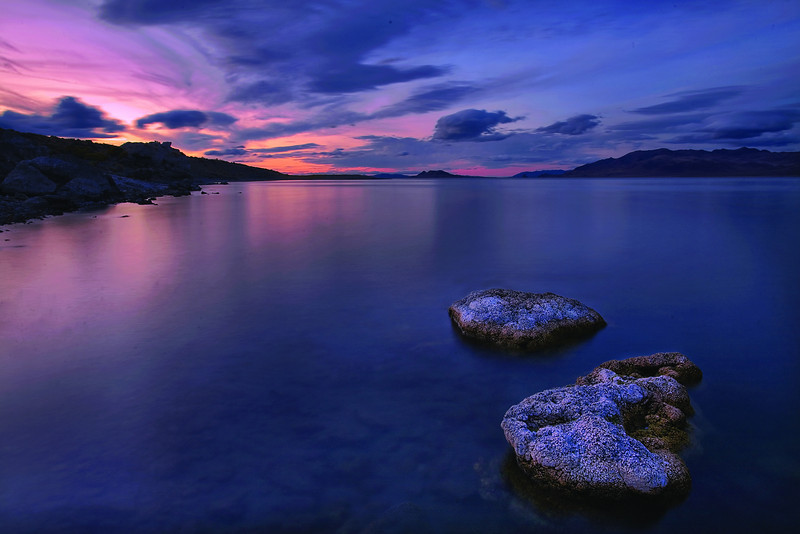 A final glowing sunset over Pyramid Lake, NEvada