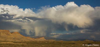 Late spring storm over Grand Mesa, from the desert north of Grand Junction, Colorado