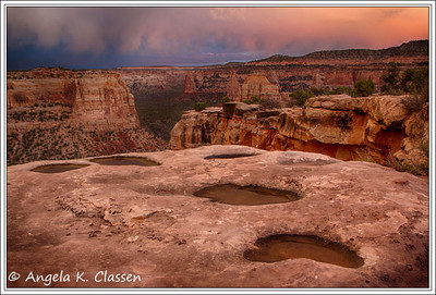 Pothole Sunset, Wedding Canyon, Colorado National Monument, Grand Junction, Colorado