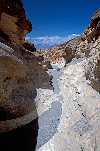 View from inside Mosaic canyon, looking towards Death Valley, California