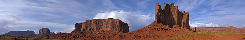 Horizontal Panorama of Monument Valley. 5 images stitched together.