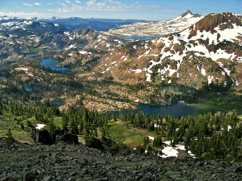 Desolation Wilderness, looking south from Dick's Pass, Pacific Crest Trail.