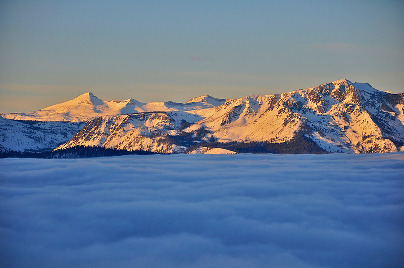 Sunrise, Pyramid Peak and Mt. Tallac, with inversion layer, from the Tahoe Rim Trail