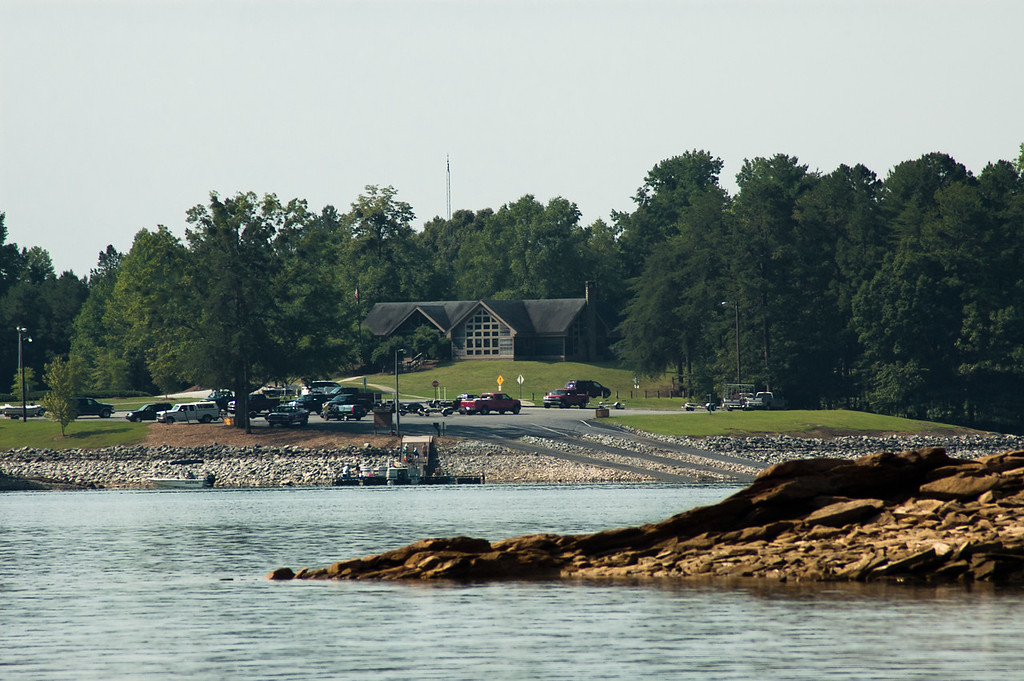 Administration building & boat ramps at Devils Fork State Park.