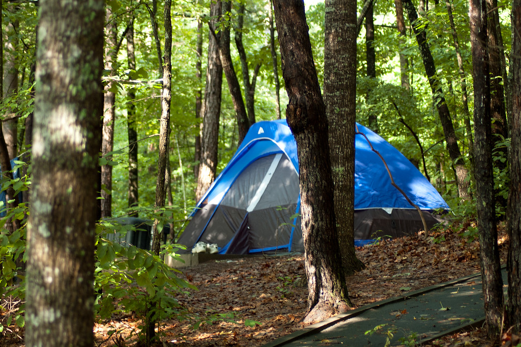 One of 25 tent sites at Devils Fork State Park.