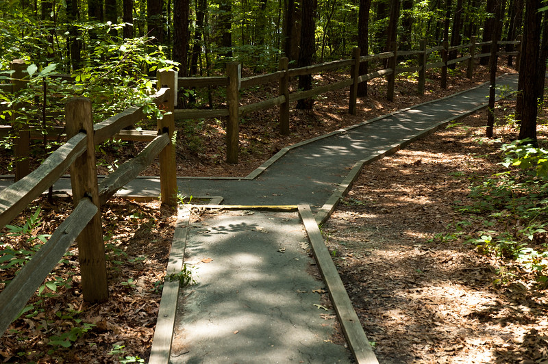Paved walking trail to camp sites at Devils Fork State Park.