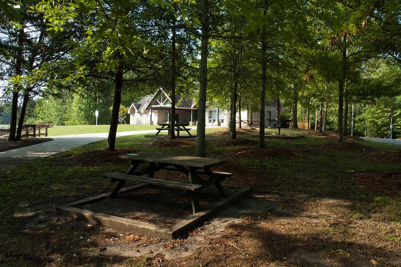 Picnick tables at Devils Fork State Park.