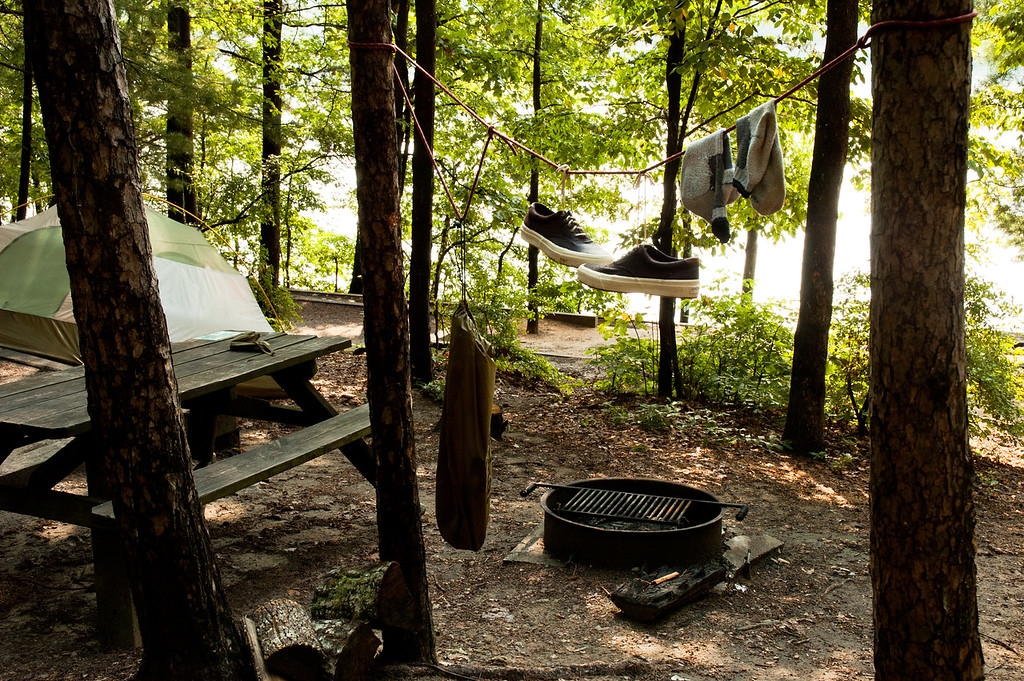 Tent site on water at Devils Fork State Park.