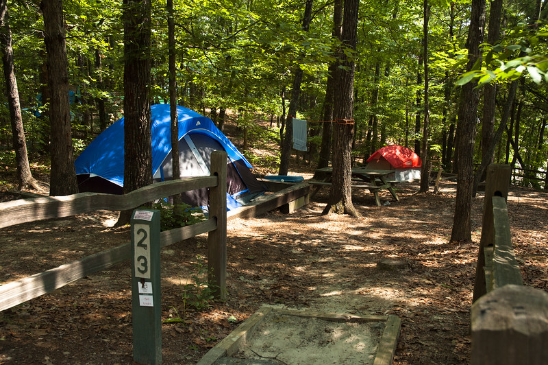 Tent site at Devils Fork State Park.