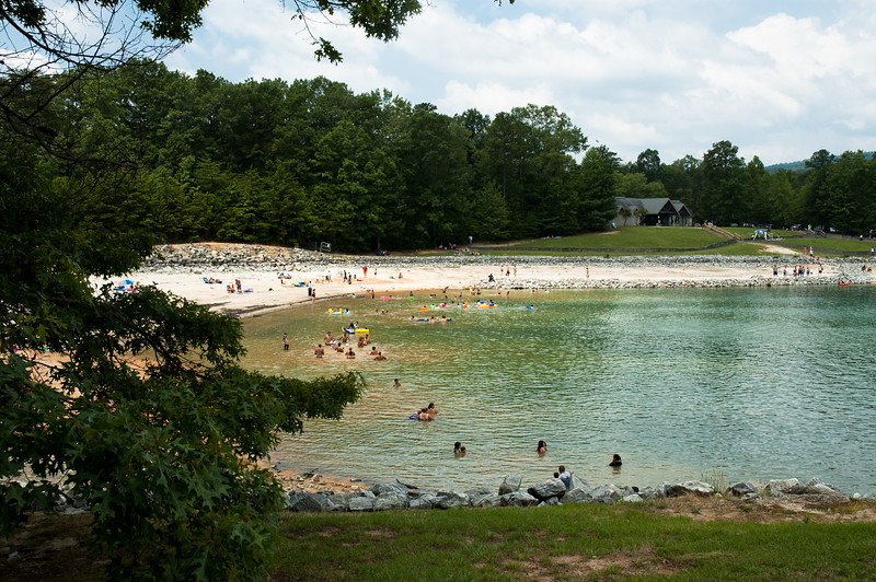 Swimming beach at Devils Fork State Park.