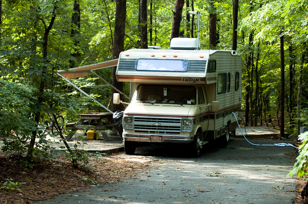 One of 59 paved paved RV sites at Devils Fork State Park.
