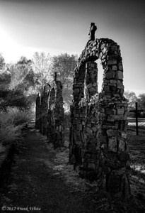 Stone monuments near the church at Chimayo, New Mexico. Digital IR.