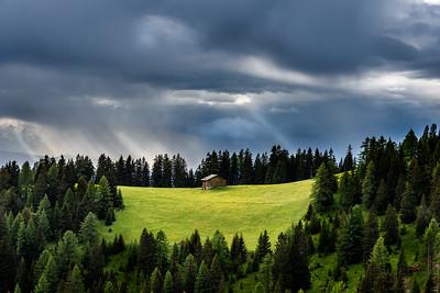 Cabin in Alpine Meadow