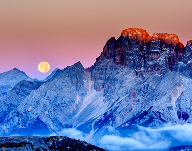 Moonset Over Mountains
