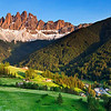 A panorama view of the Odle/Geisler Dolomite massif, Dolomites, Italy.