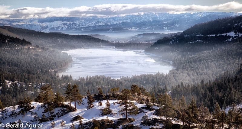 This view of Donner Lake is from Vista Point.  The vantage point is about one thousand feet above the lake.  One can barely make out Truckee in the background.