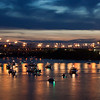 Blue Hour Bridge and Boats on Ohio River