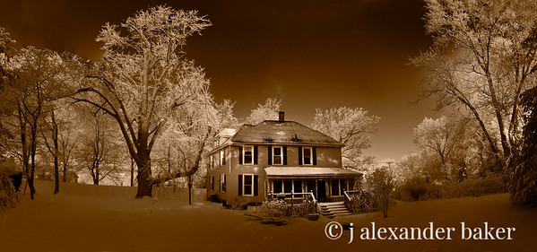 Our Haunted House Panorama Sepia - 9 vertical Images