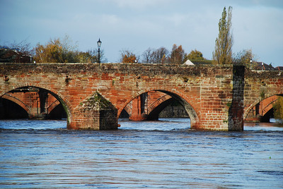 Buccleugh St bridge behind the Devorgilla bridge over the River Nith at Dumfries, early November 2009.
