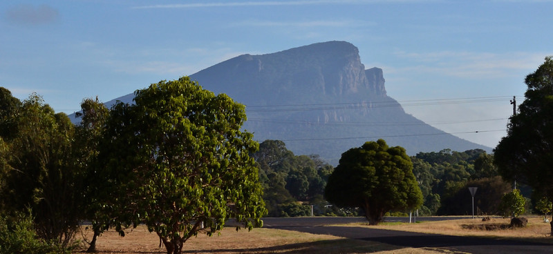 View of Mount Abrupt from the town of Dunkeld.