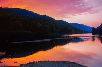 Sunset over the Jacques Cartier river valley