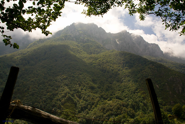 A view of the great mountain from the rural path. Asturias. Spain.