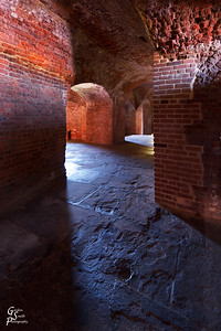 Red Brick of Fort Zachary Taylor Inside the shadows and light stretch across long empty corridors.  The feeling of being here is remarkable.