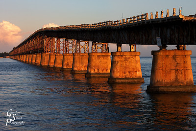 Bahia Honda Bridge Ascent gradual over the long length.  The golden sunset light reflected beautifully.