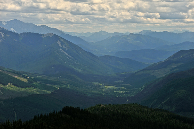 Looking south down Alexander Ck valley from Crown Mountain