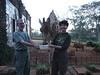 Feeding our new friend dinner.  Giraffe pellets.  Lots of fun for everyone.  Even Michelle.  Giraffe Manor in the Nairobi suburb of Karen.  As in Blixen.