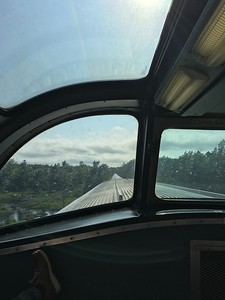 Looking along the length of the Ocean Sleeper train to Halifax, from the Observation Deck,  about 45 minutes from the city station.